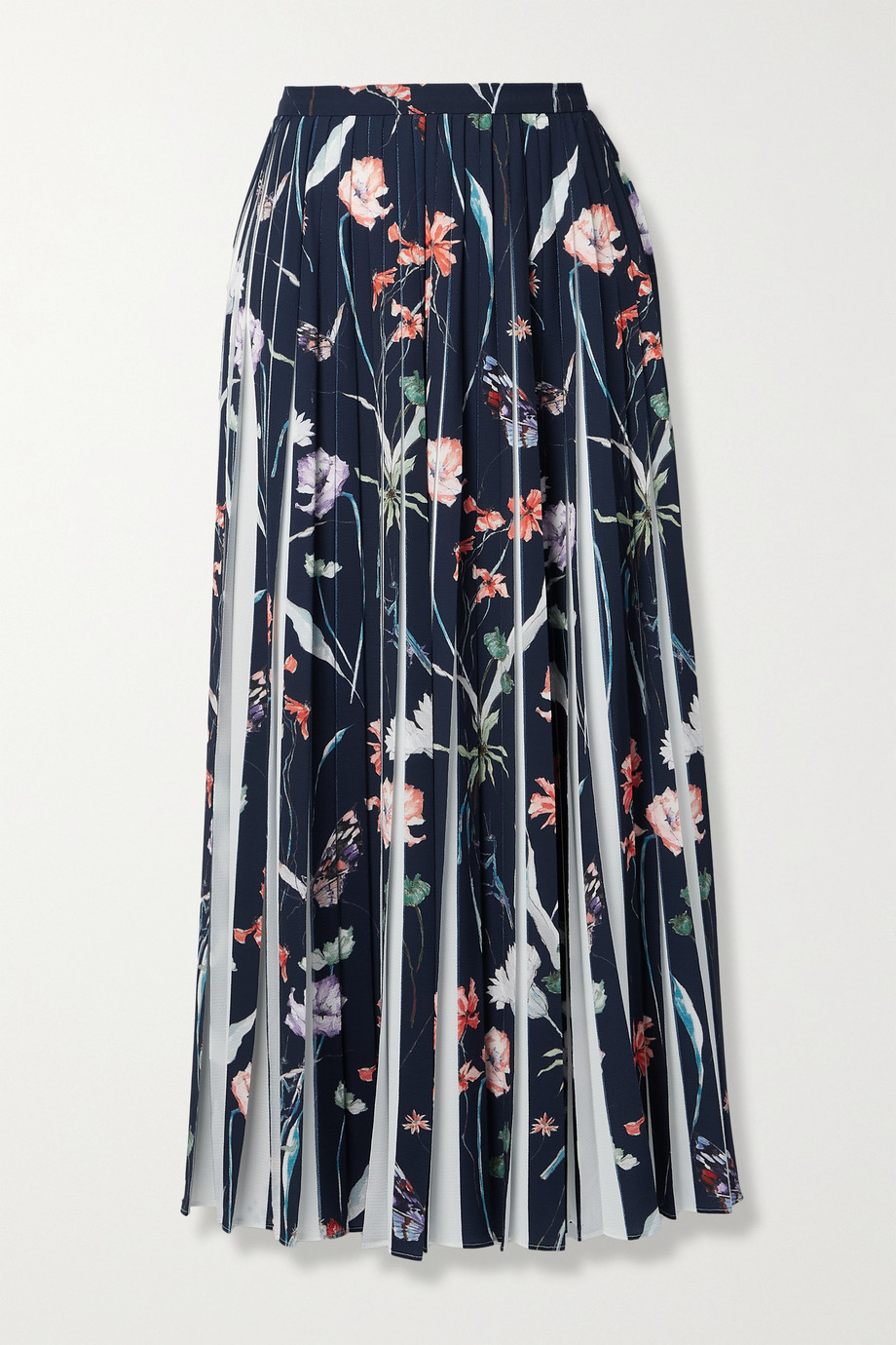Jason Wu Collection Pleated floral-print crepe midi skirt