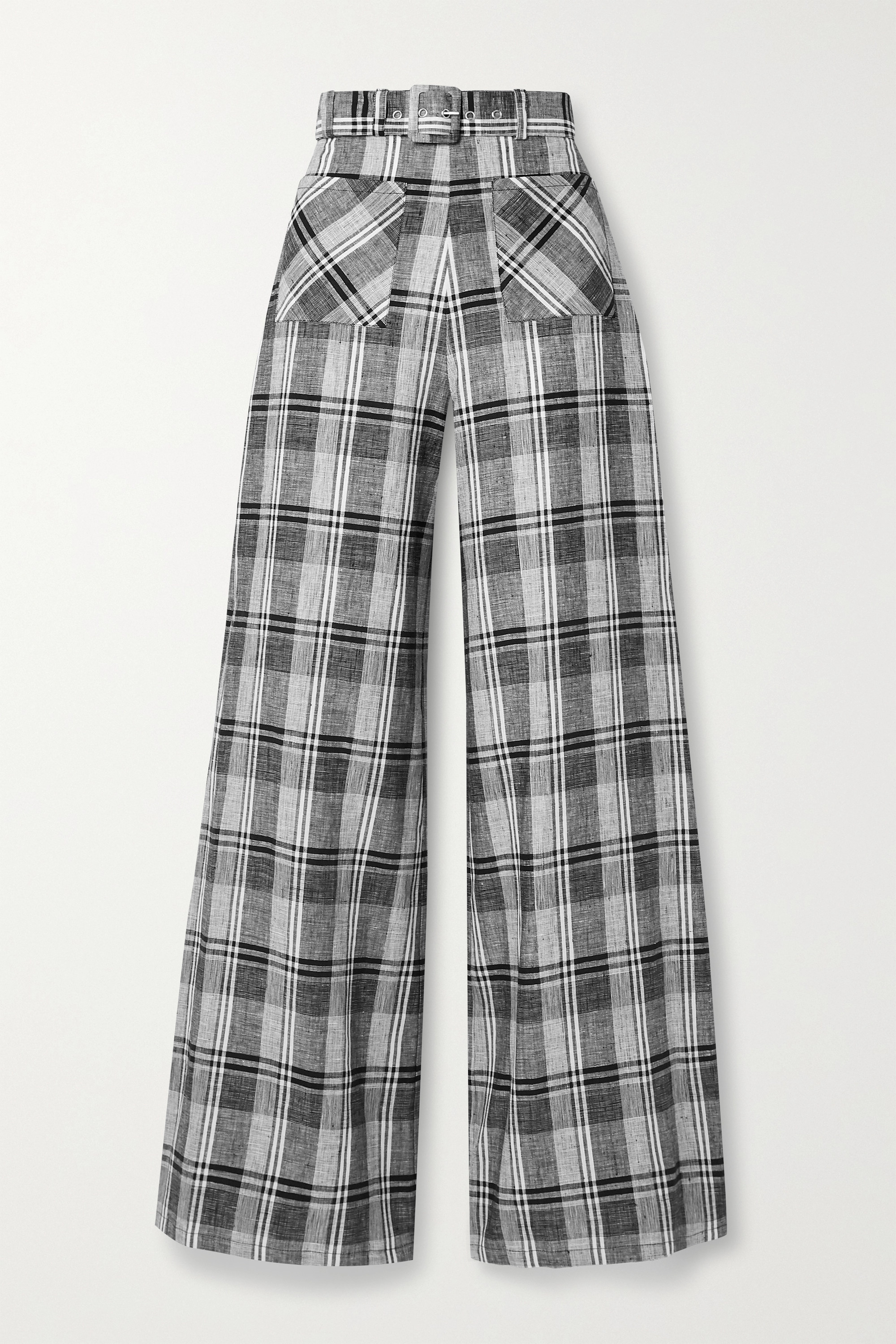 Miguelina Rita belted checked linen wide-leg pants