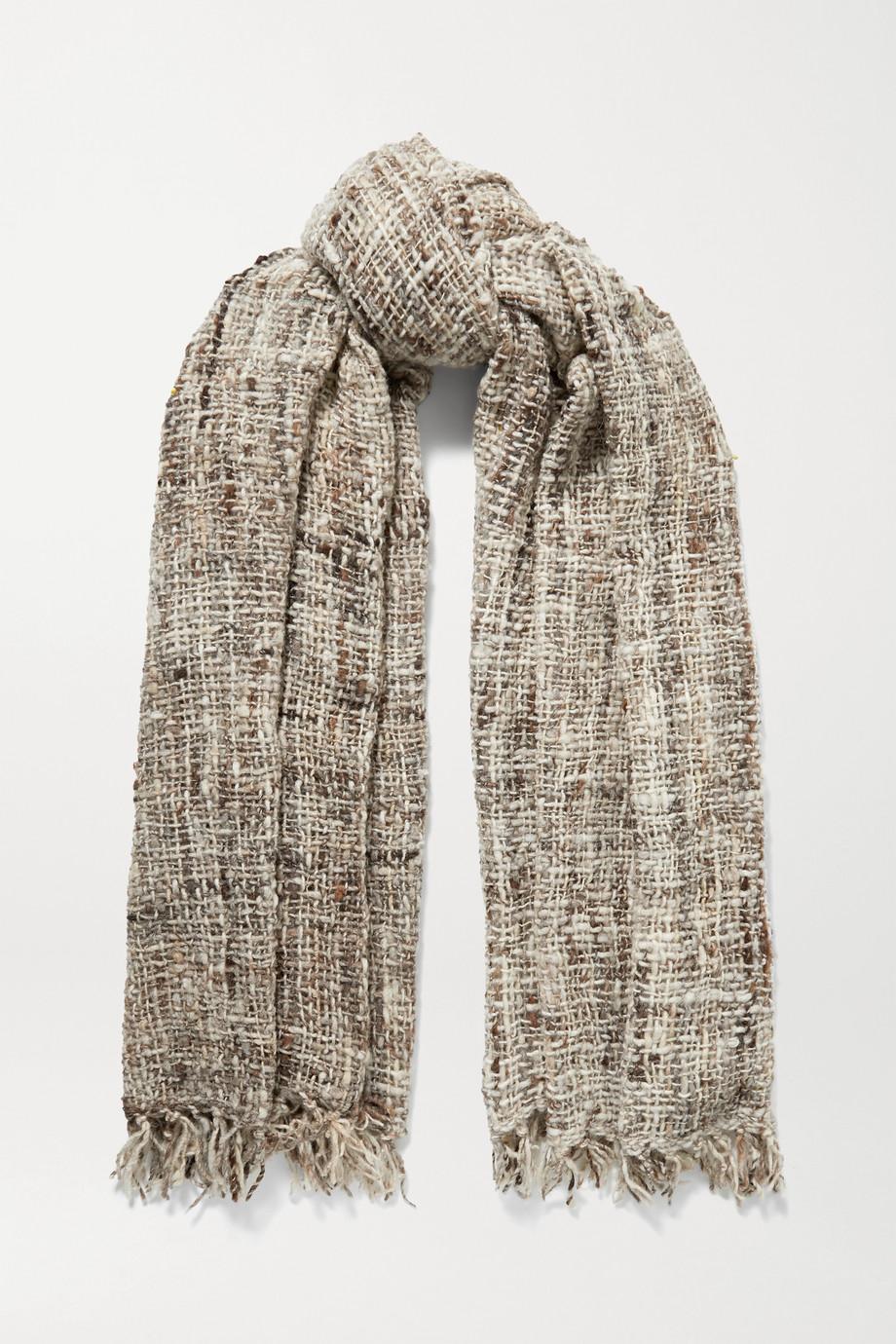 Miguelina Onyeka fringed mélange wool scarf
