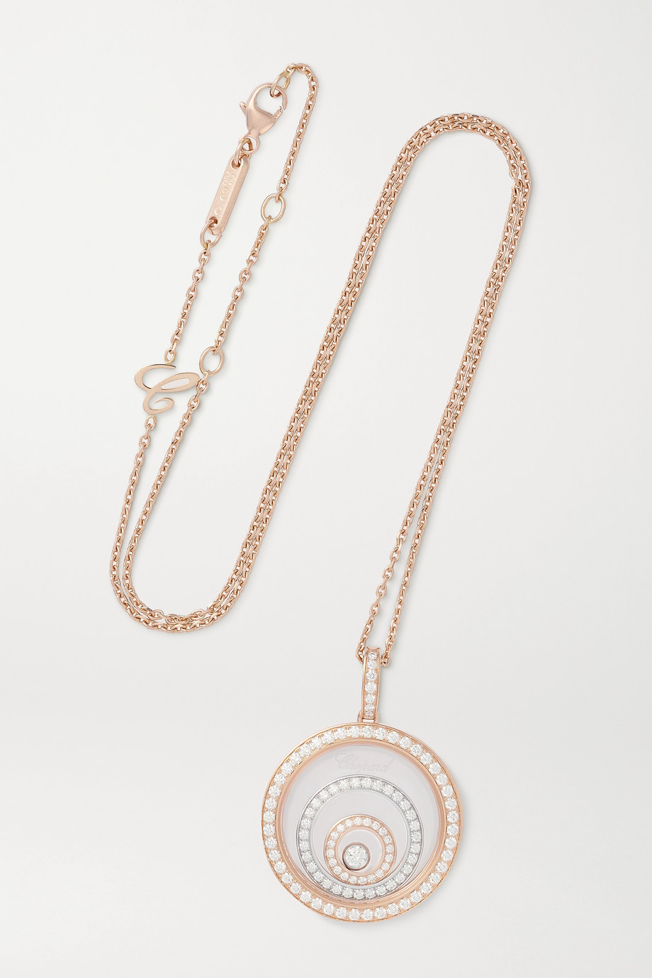 Chopard Collier en or rose et blanc 18 carats et diamants Happy Spirit