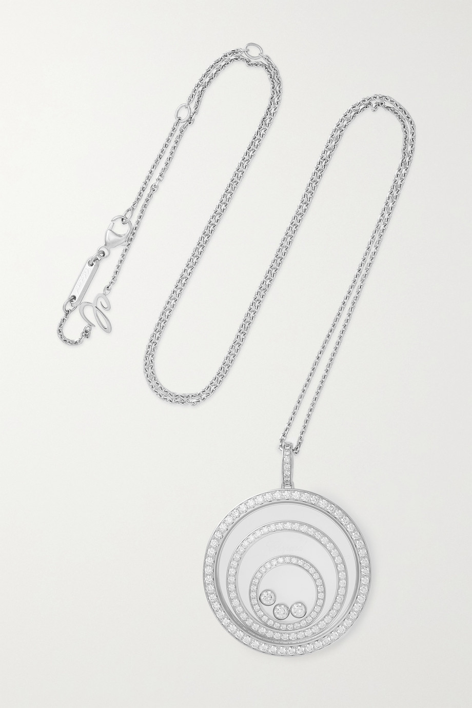 Chopard Collier en or blanc 18 carats et diamants Happy Spirit