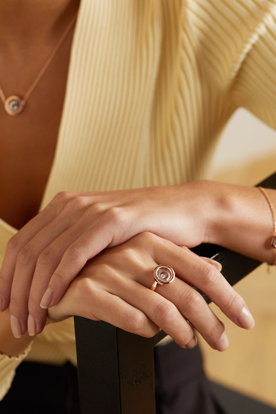 Chopard Happy Spirit 18-karat rose and white gold diamond ring