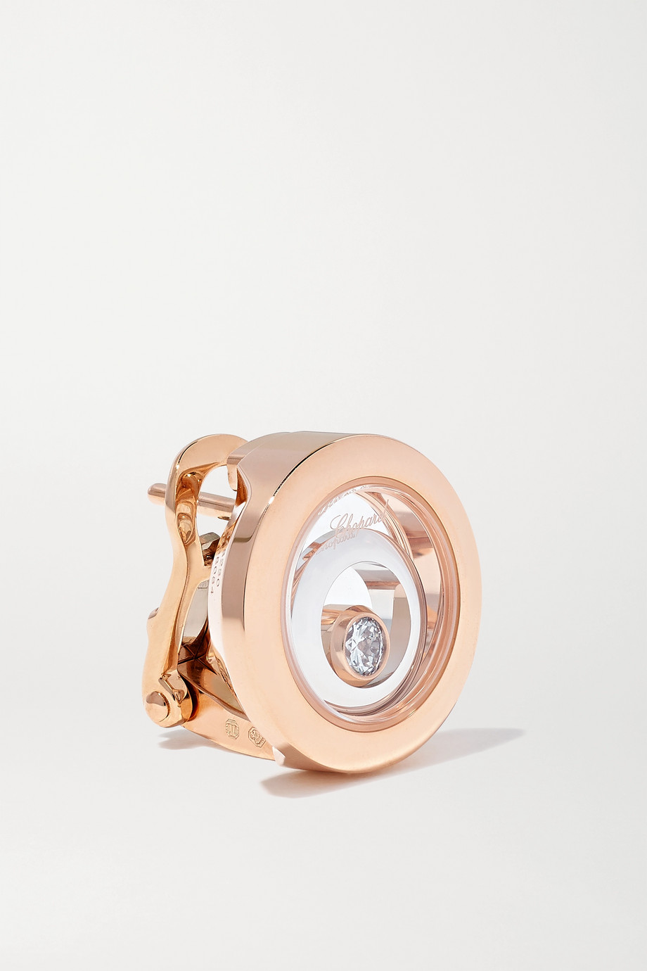 Chopard Boucles d'oreilles en or rose et blanc 18 carats et diamants Happy Spirit