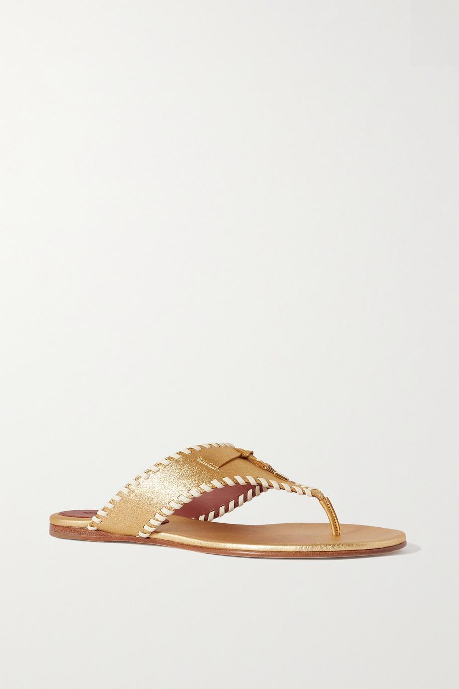 Loro Piana Jovis whipstitched metallic leather flip flops