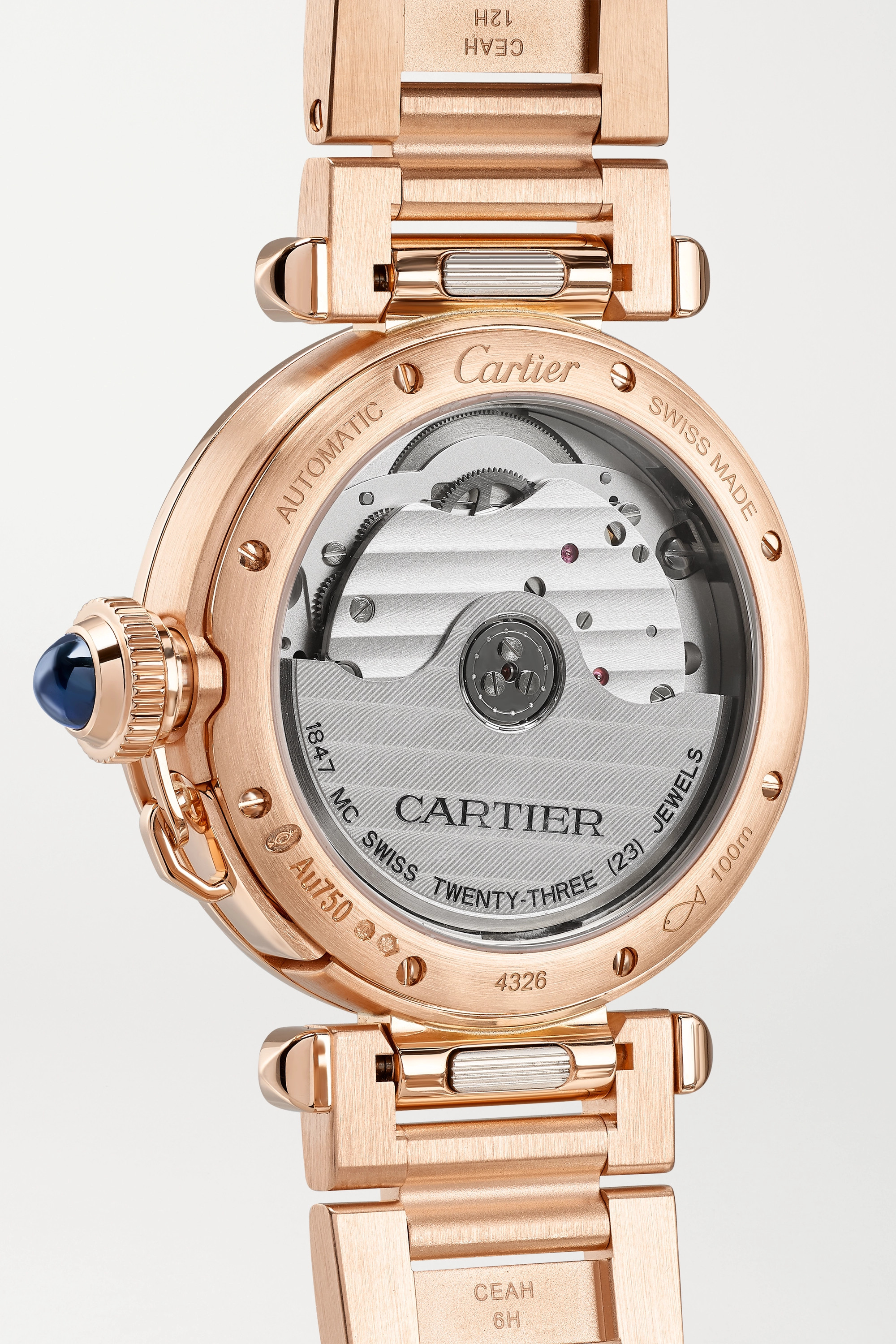 Cartier Montre en or rose 18 carats et diamants à bracelet en alligator automatique Pasha de Cartier 35 mm