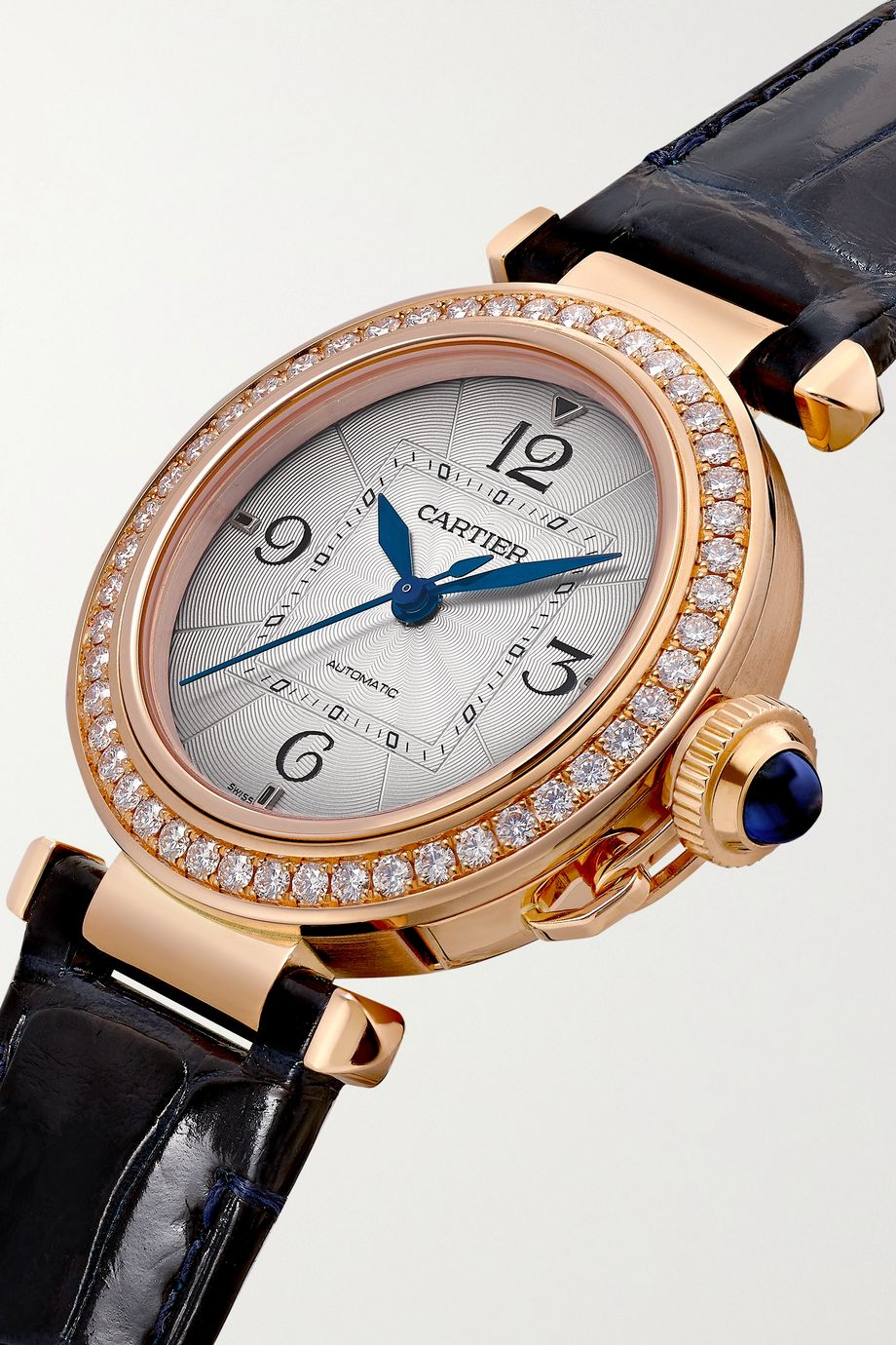 Cartier Montre en or rose 18 carats et diamants à bracelet en alligator Pasha de Cartier Automatique 35 mm