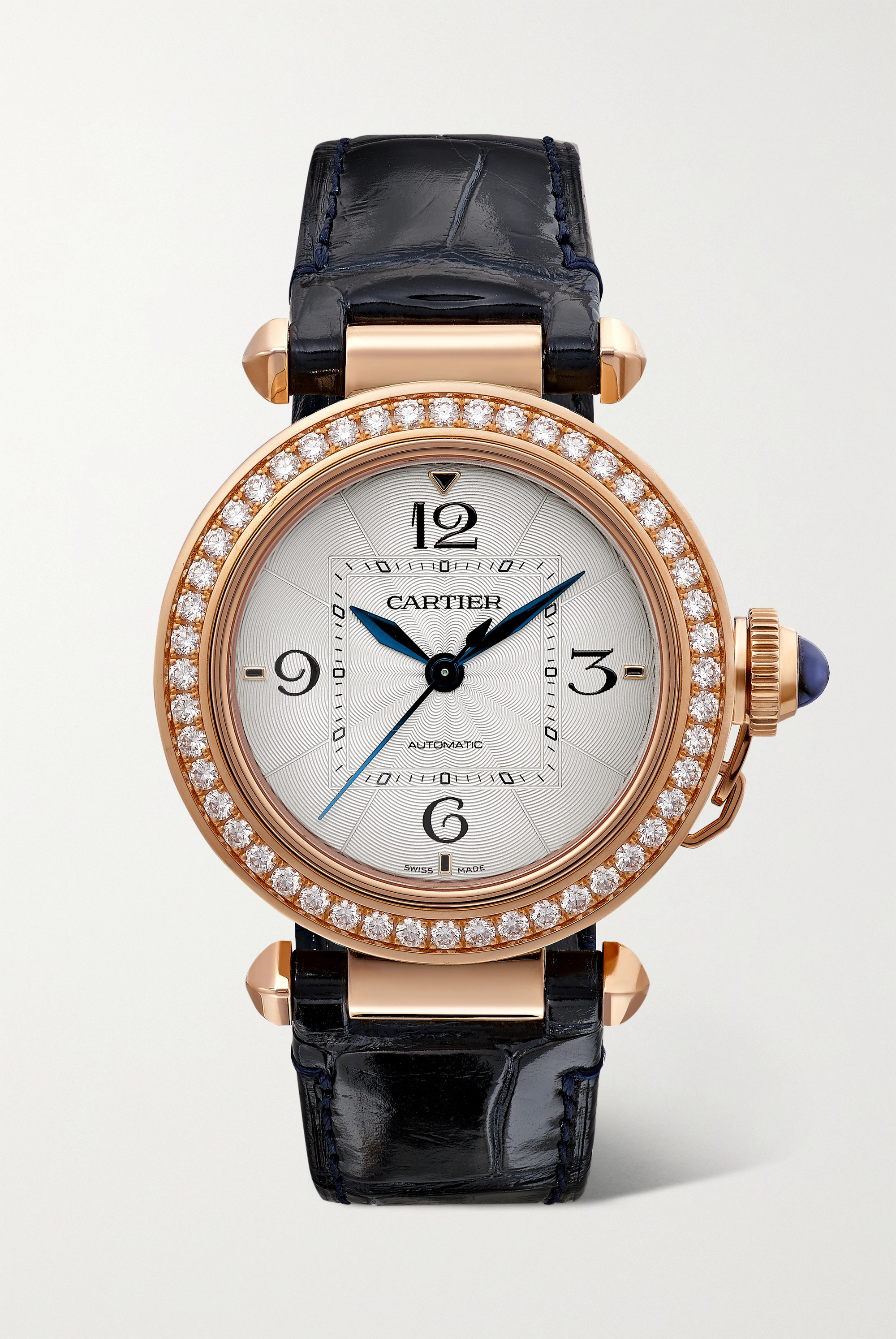 Cartier Pasha de Cartier Automatic 35mm 18-karat rose gold, alligator and diamond watch