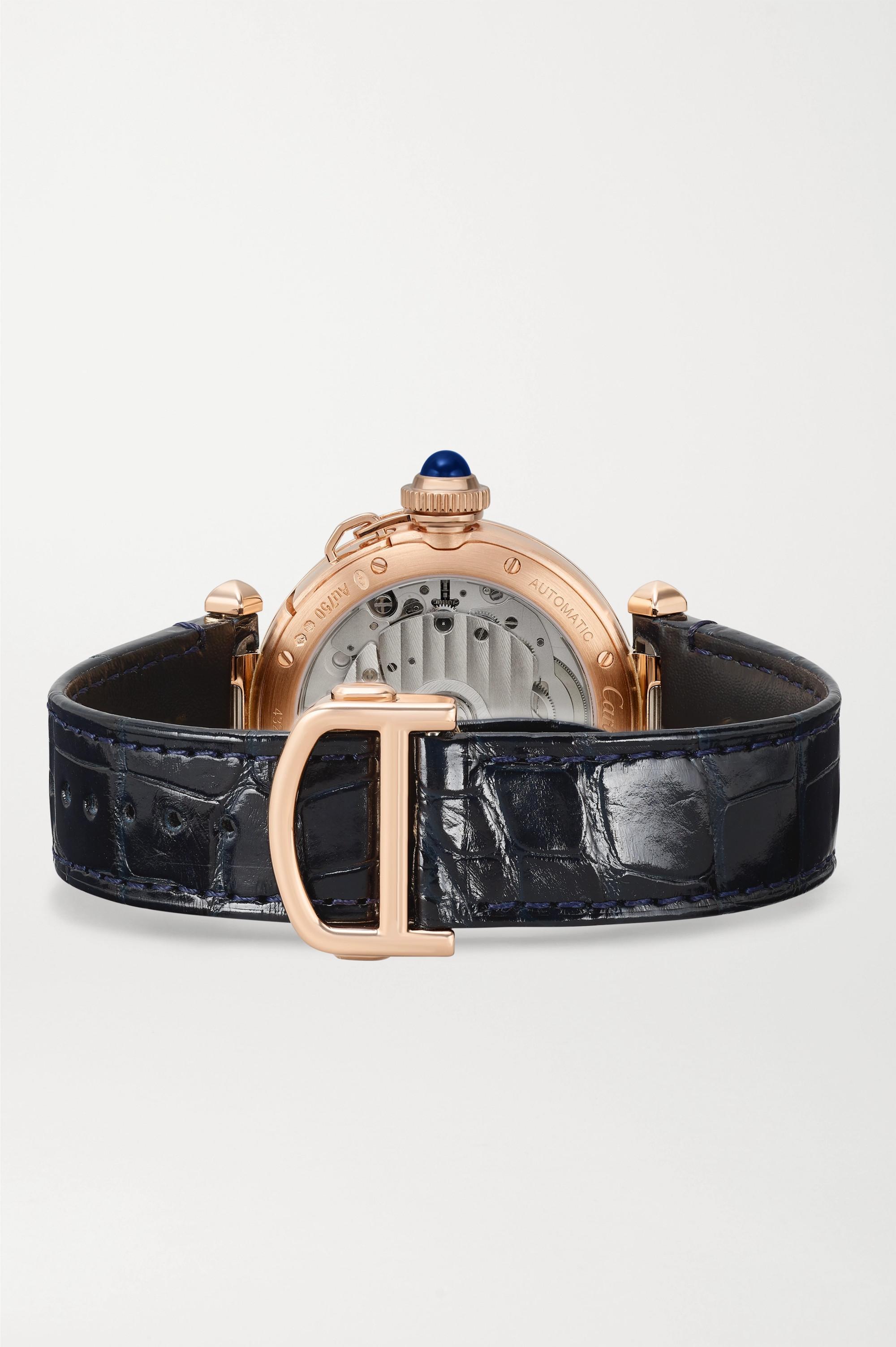 Cartier Pasha de Cartier Automatic 35 毫米 18K 玫瑰金腕表(短吻鳄鱼皮表带)