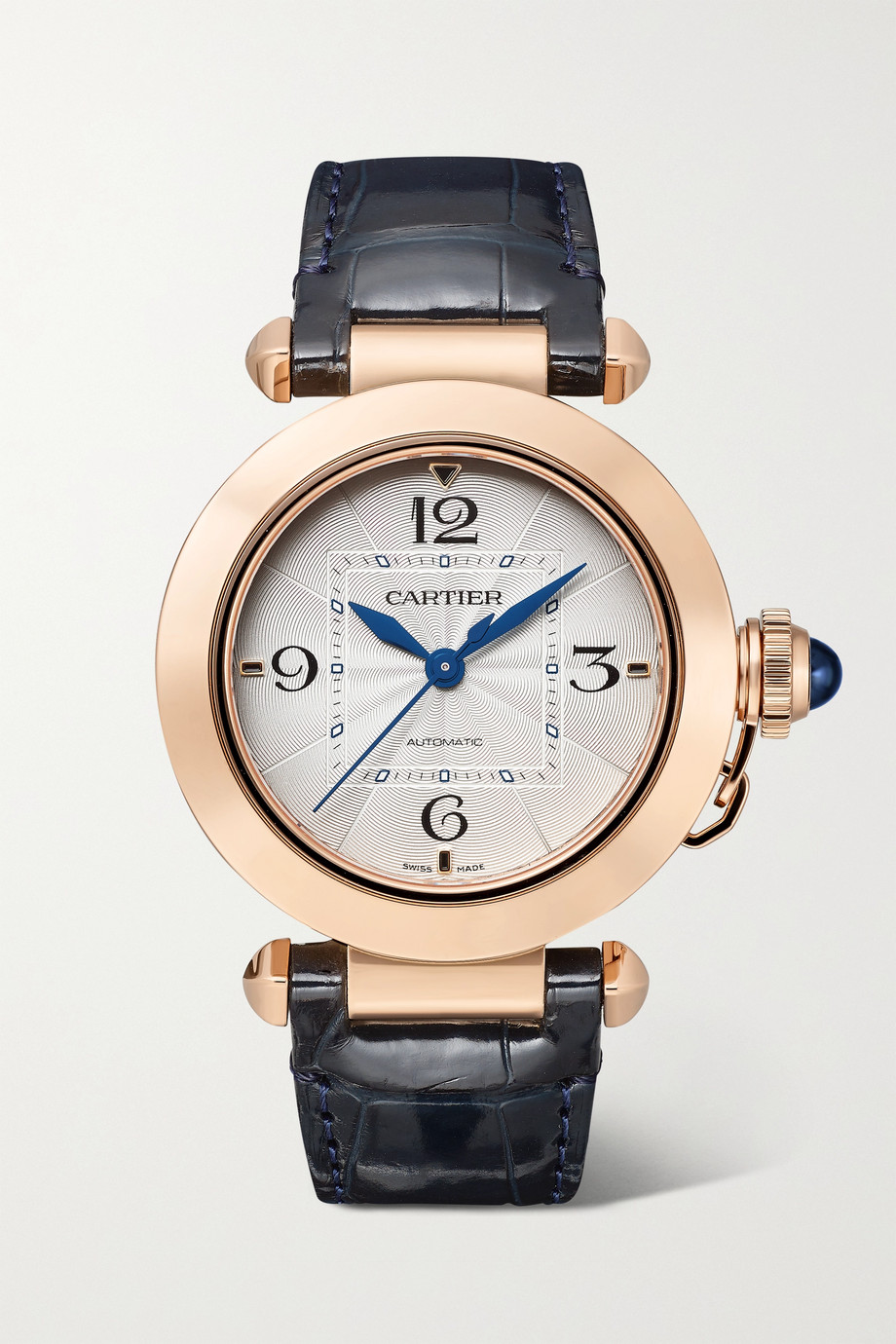 Cartier Pasha de Cartier Automatic 35mm 18-karat rose gold and alligator watch