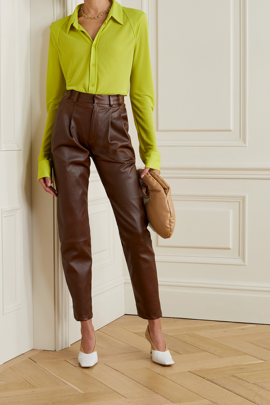 SPRWMN Pleated leather tapered pants