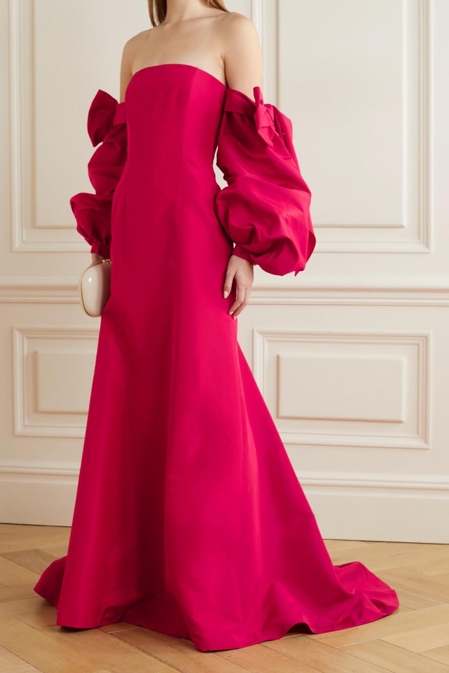 Carolina Herrera Wandelbare, trägerlose Robe aus Seiden-Faille