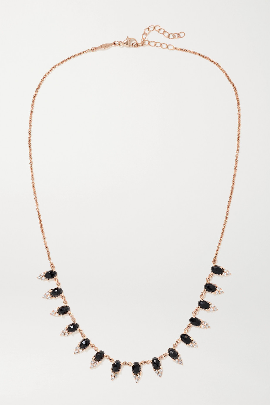 Jacquie Aiche Collier en or rose 18 carats, onyx et diamants