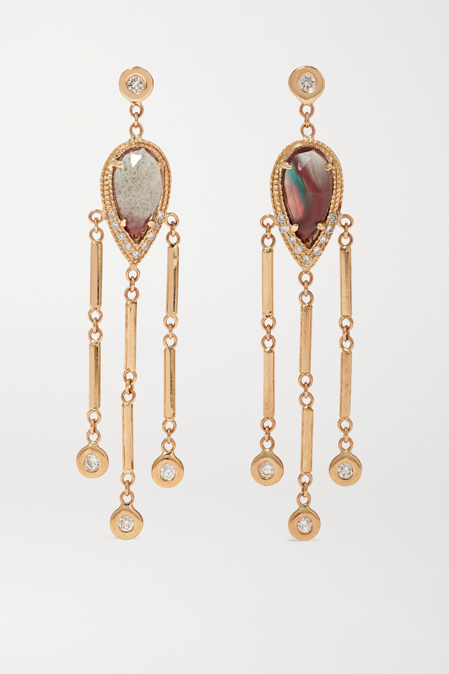 Jacquie Aiche 14-karat gold, sunstone and diamond earrings