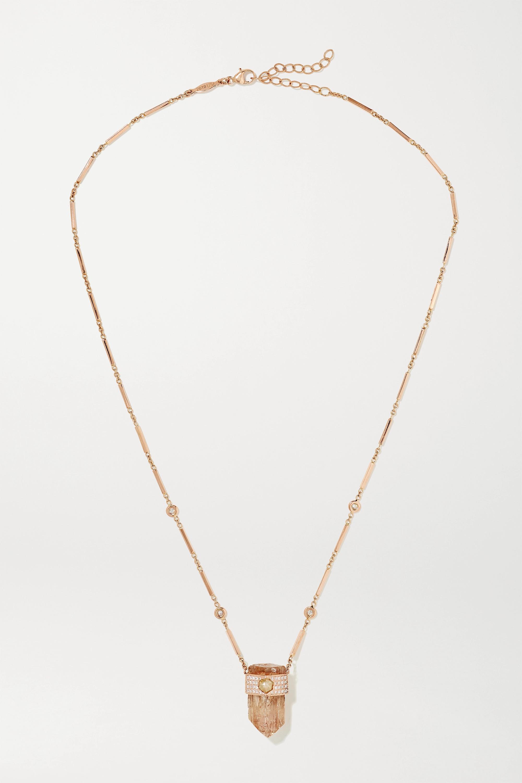 Jacquie Aiche - 14-karat rose gold, topaz and diamond necklace