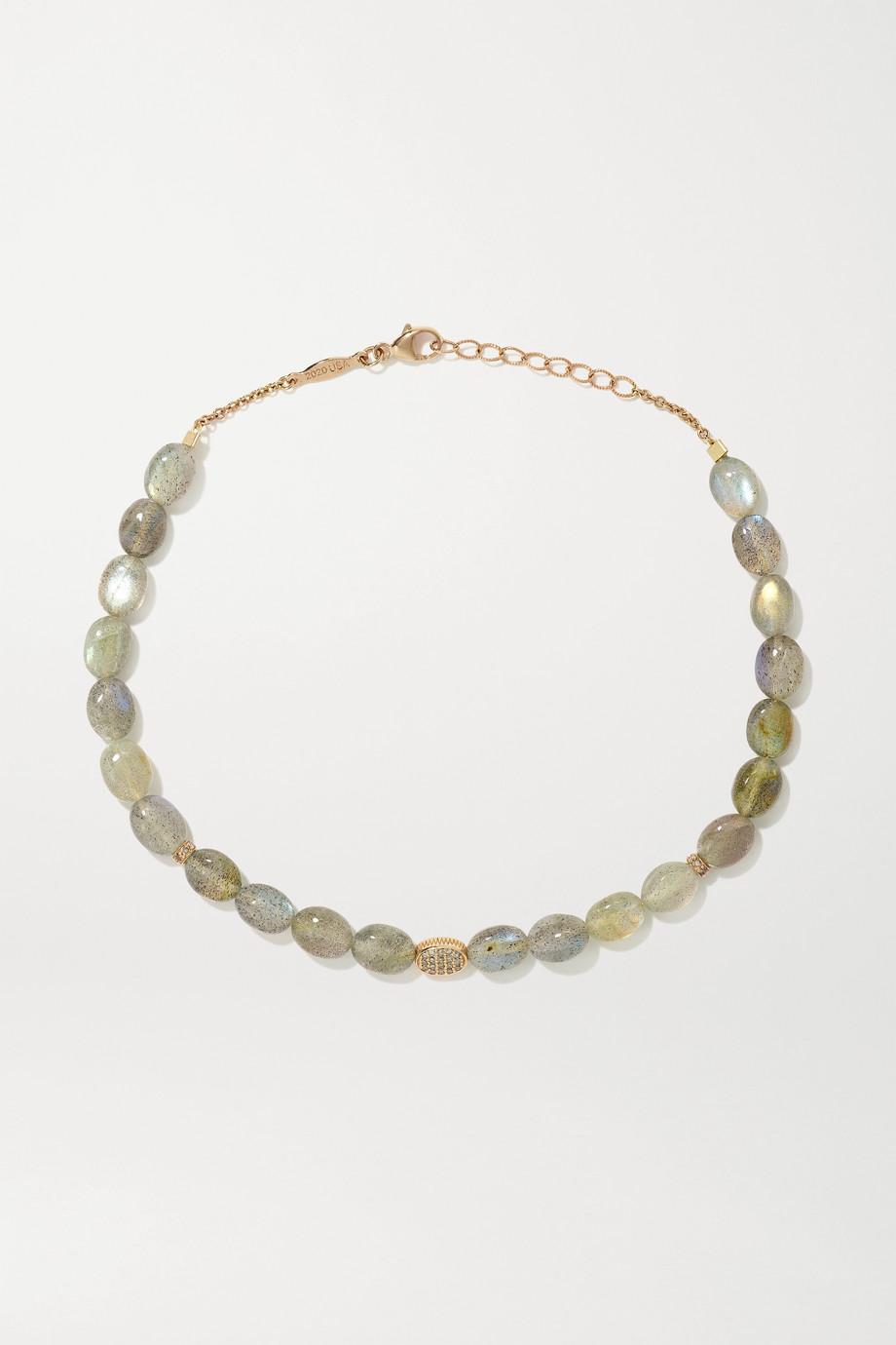 Jacquie Aiche Bijou de cheville en or rose 14 carats (585/1000), labradorites et diamants