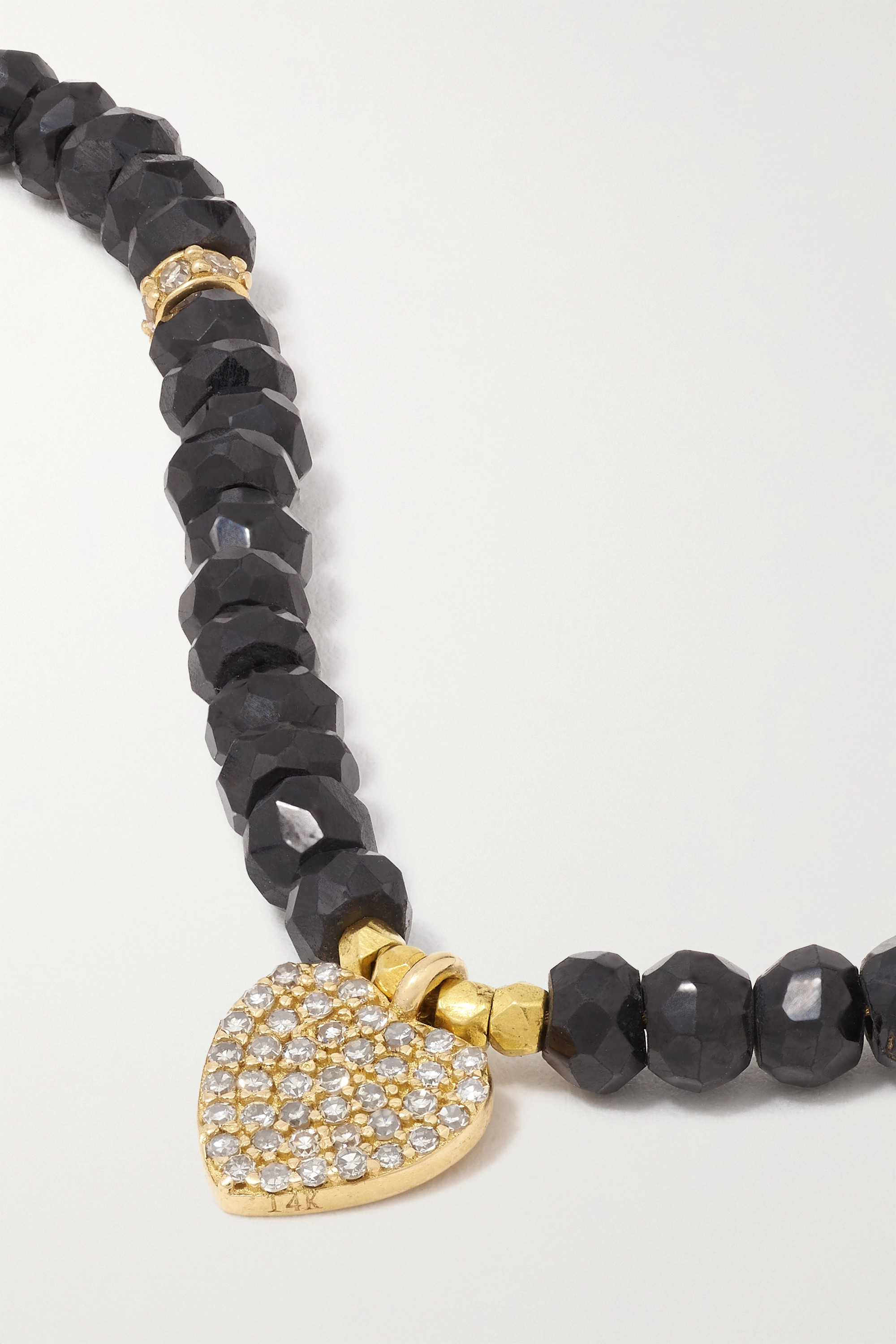 Jacquie Aiche 14-karat gold, onyx and diamond anklet