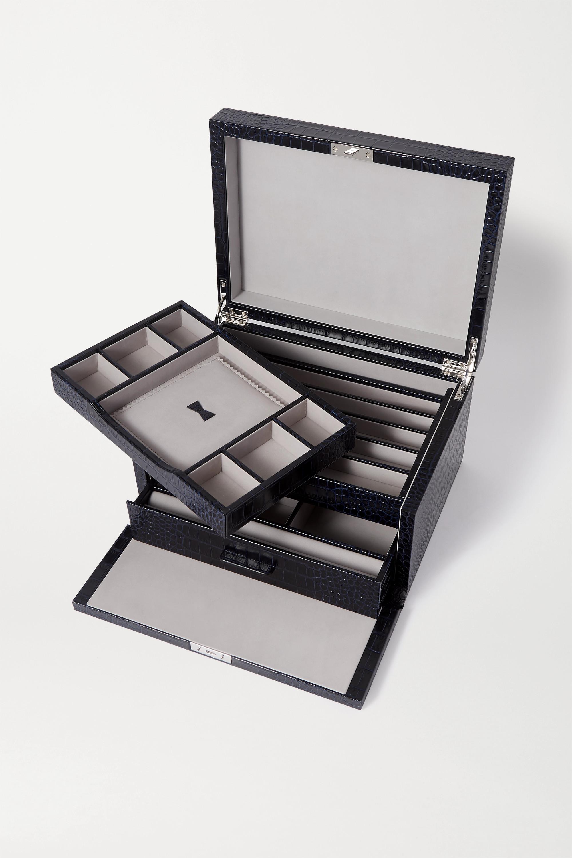 Smythson Boîte à bijoux en cuir effet croco Mara
