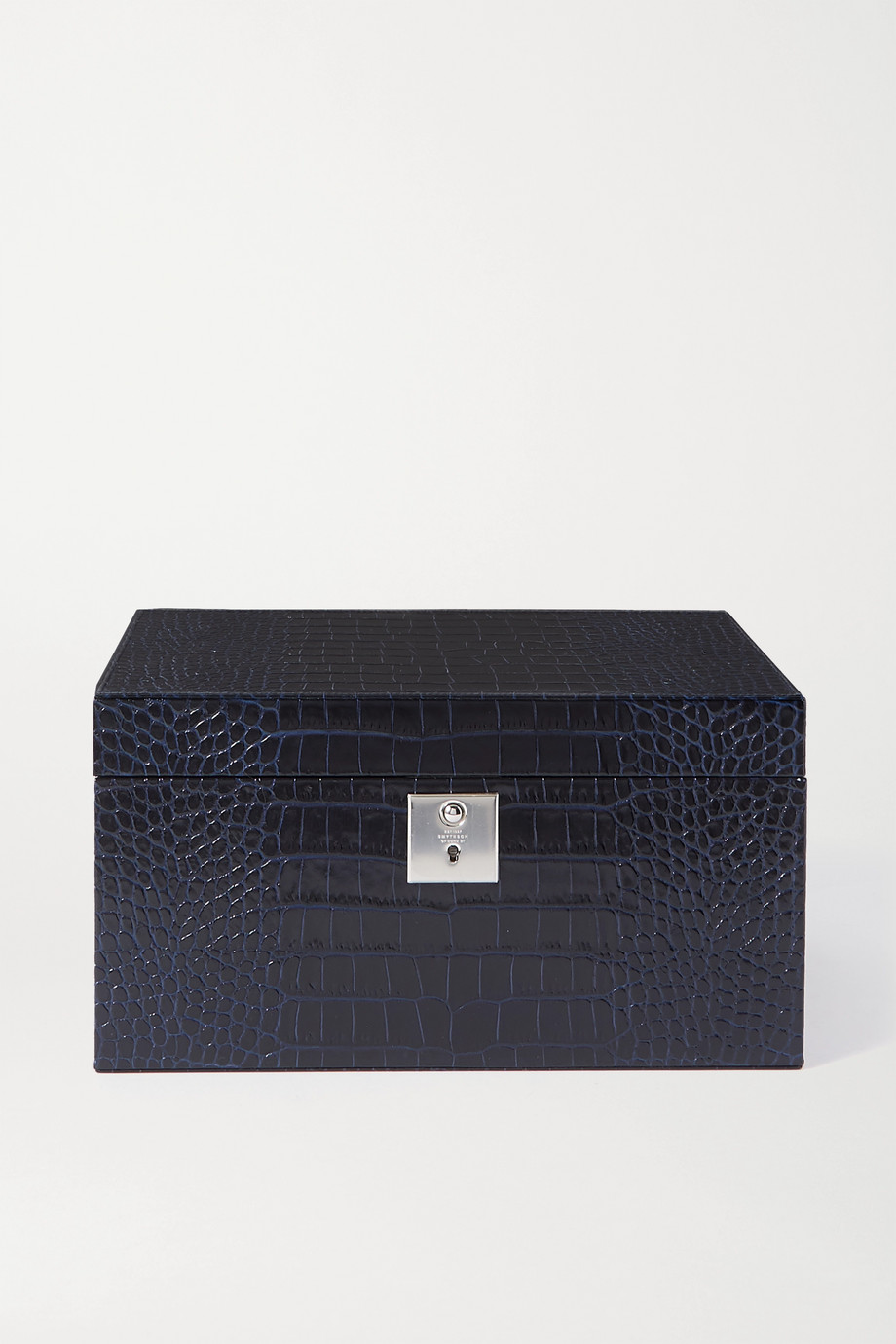 Smythson Mara croc-effect leather jewellery box