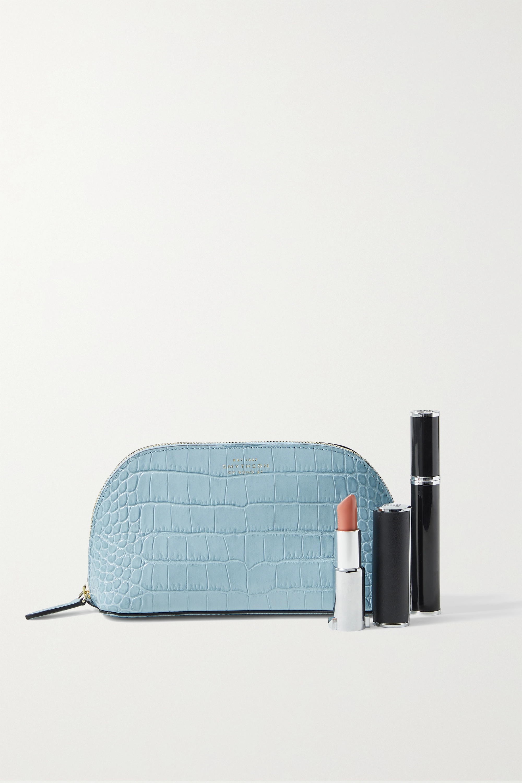 Smythson Mara croc-effect leather cosmetics case