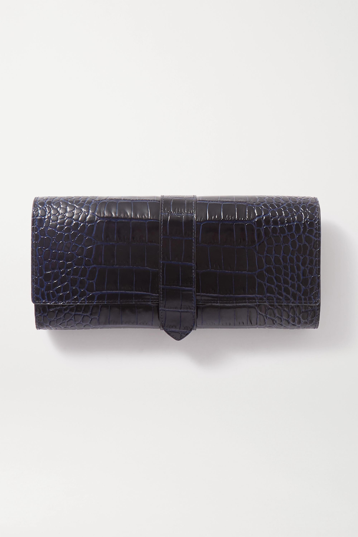 Smythson Mara large croc-effect leather jewellery roll