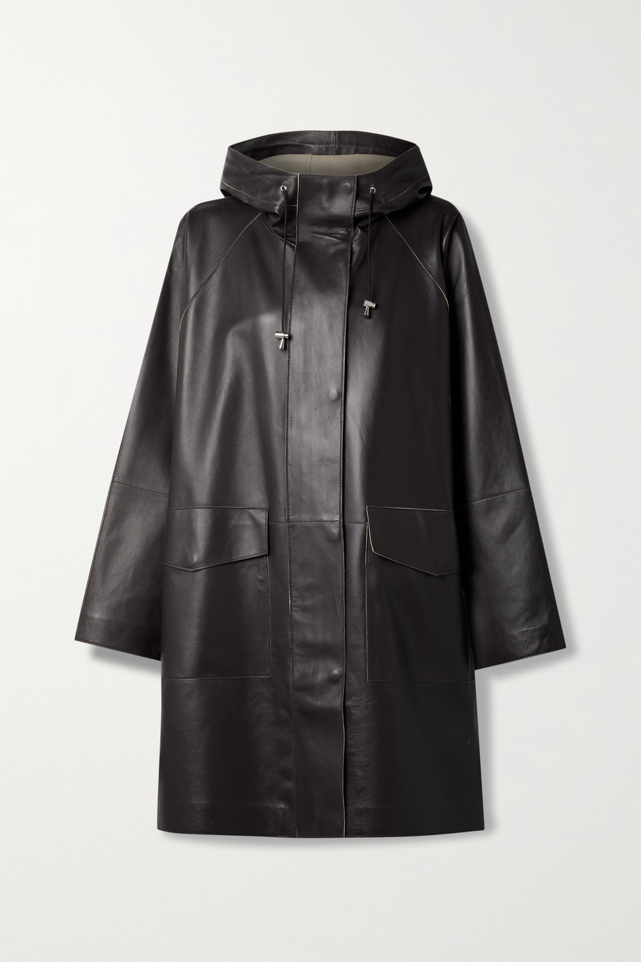 Stand Studio Dahlia oversized hooded leather coat