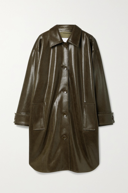 Stand Studio Kali oversized snake-effect faux leather coat