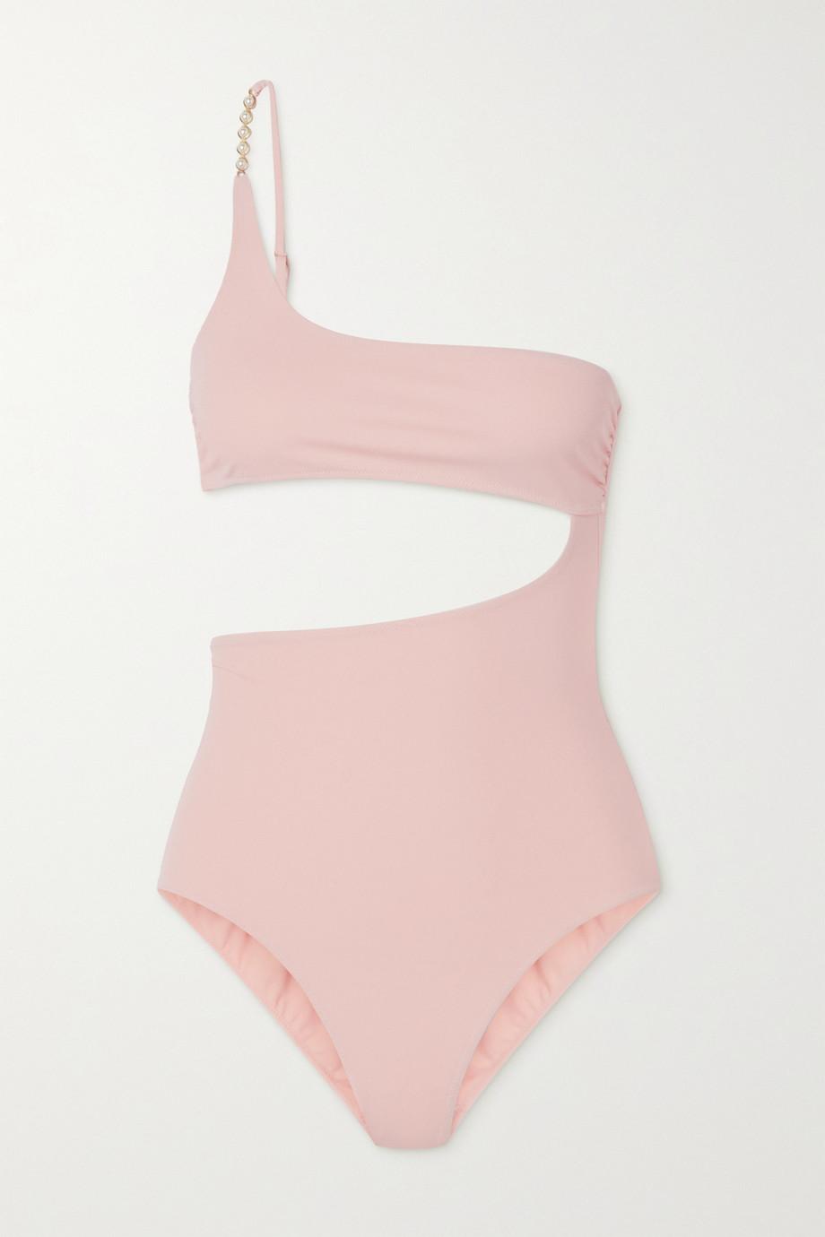 Stella McCartney + NET SUSTAIN Verzierter Badeanzug aus Stretch-ECONYL® mit Cut-out und asymmetrischer Schulterpartie