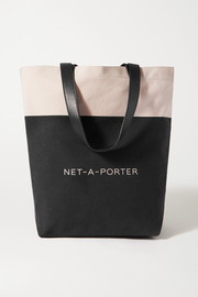 NET-A-PORTER + Loeffler Randall leather-trimmed two-tone cotton-canvas tote
