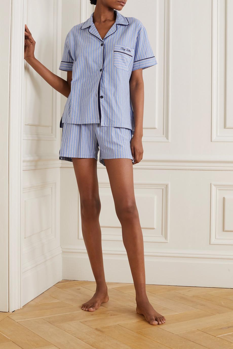 Ninety Percent + NET SUSTAIN Pyjama aus gestreiftem Biobaumwoll-Jersey mit Stickerei