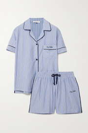 Ninety Percent + NET SUSTAIN embroidered striped organic cotton-jersey pajama set