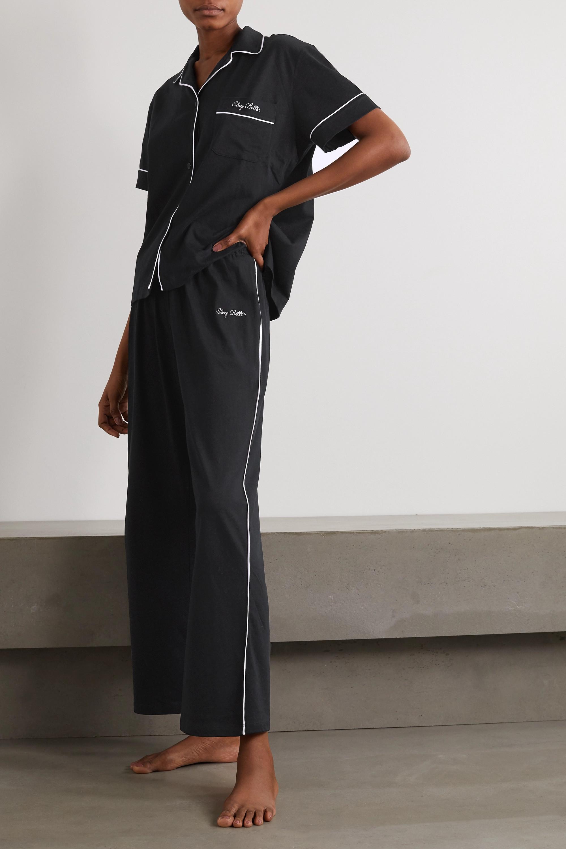 Ninety Percent + NET SUSTAIN embroidered brushed organic cotton-jersey pajama set