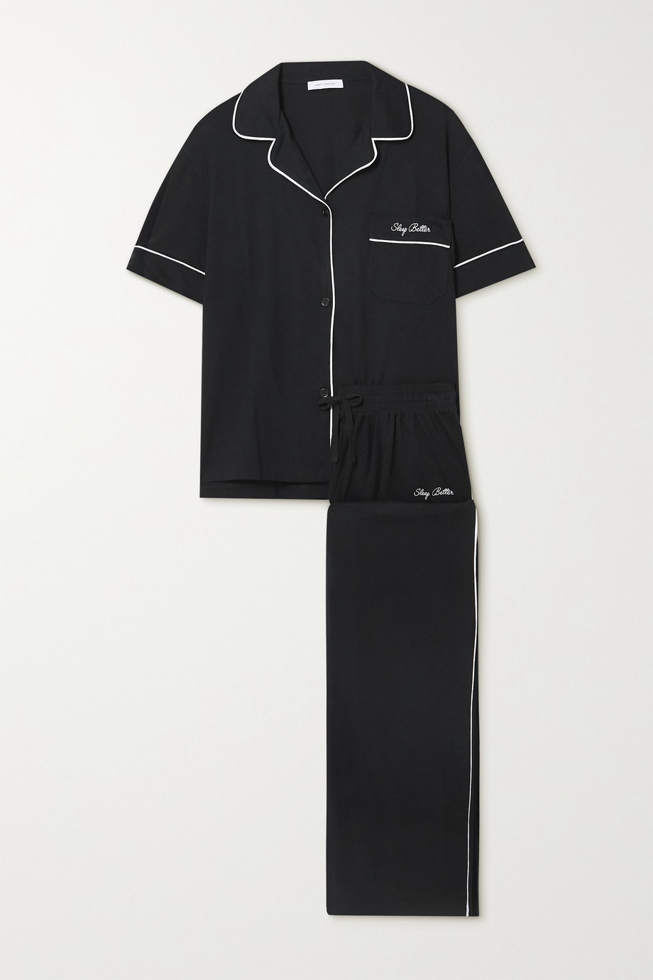 Ninety Percent + NET SUSTAIN embroidered brushed organic cotton-jersey pajama set