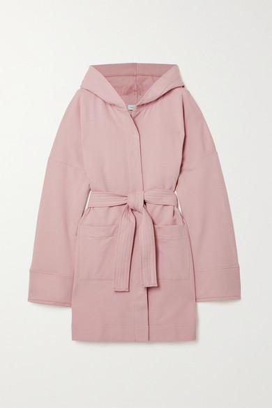 Ninety Percent - 【net Sustain】连帽配腰带有机纯棉抓绒浴袍 - 粉红色 - large