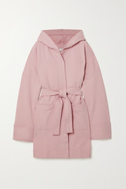 Ninety Percent + NET SUSTAIN hooded belted organic cotton-fleece robe