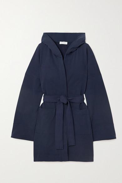 Ninety Percent - 【net Sustain】连帽配腰带有机纯棉抓绒浴袍 - 蓝色 - medium