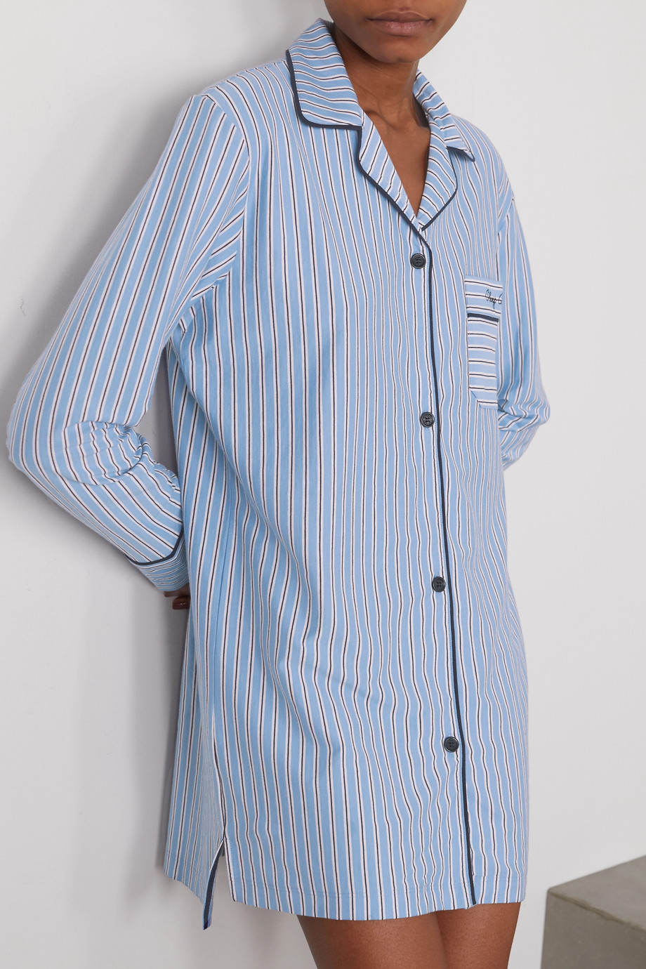 Ninety Percent + NET SUSTAIN embroidered striped organic cotton-jersey nightdress