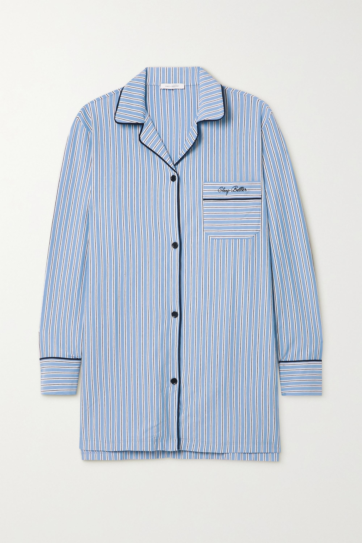 Ninety Percent + NET SUSTAIN Nachthemd aus gestreiftem Biobaumwoll-Jersey mit Stickerei