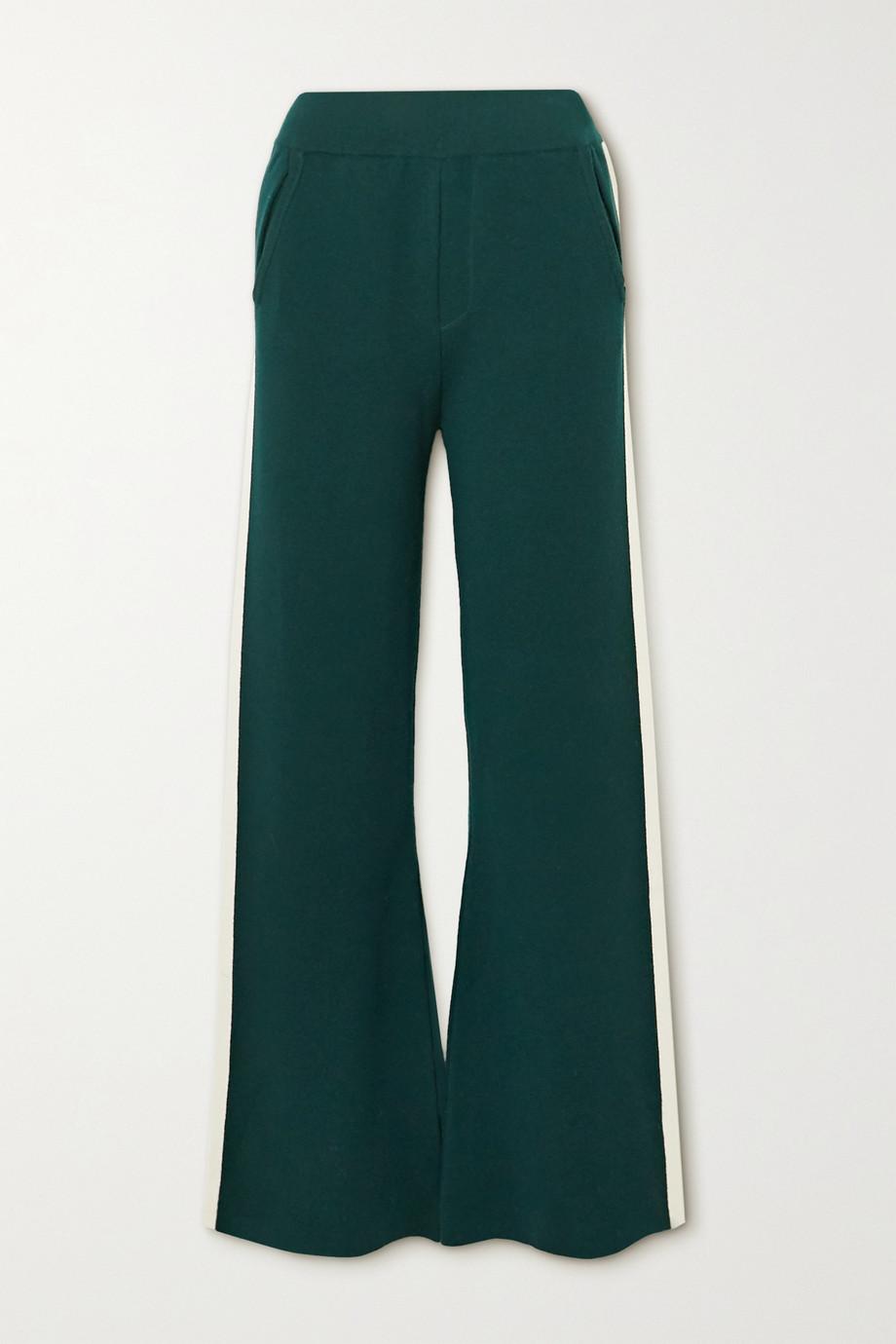 Cordova Striped merino wool-blend bootcut track pants