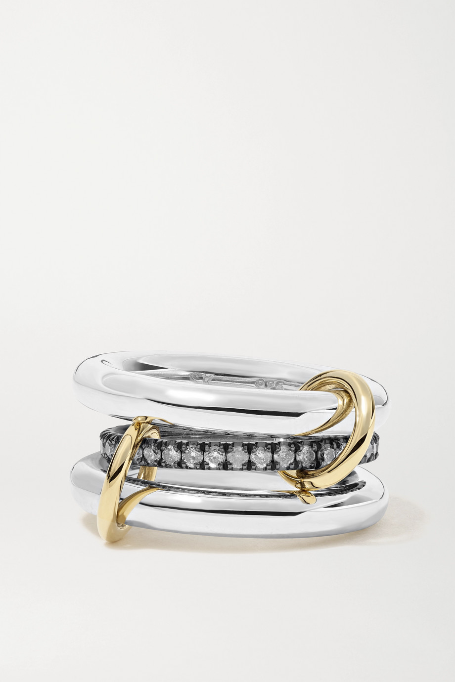Spinelli Kilcollin Libra set of three rhodium-plated, sterling silver and 18-karat gold diamond rings