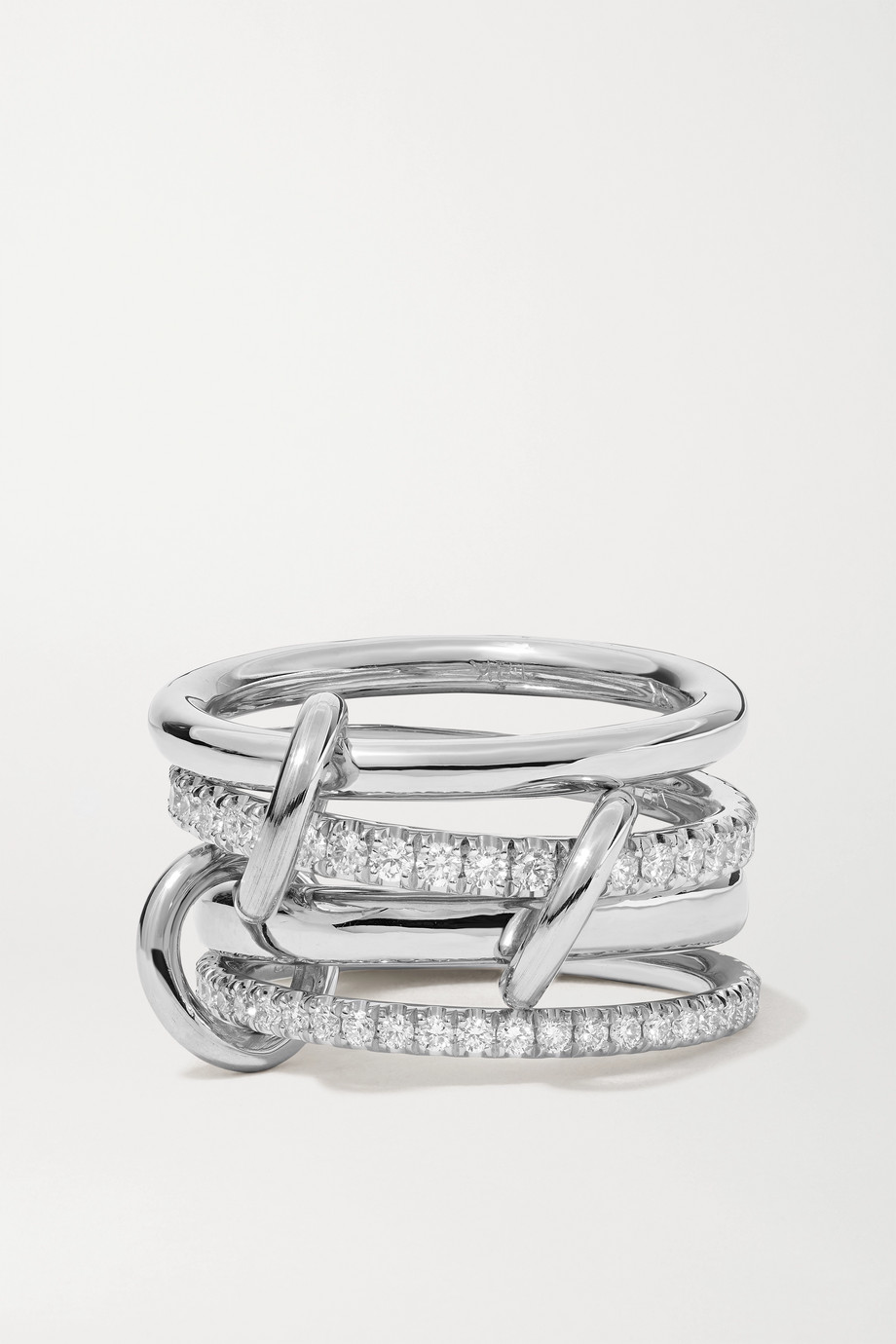 Spinelli Kilcollin Polaris set of four 18-karat white gold diamond rings