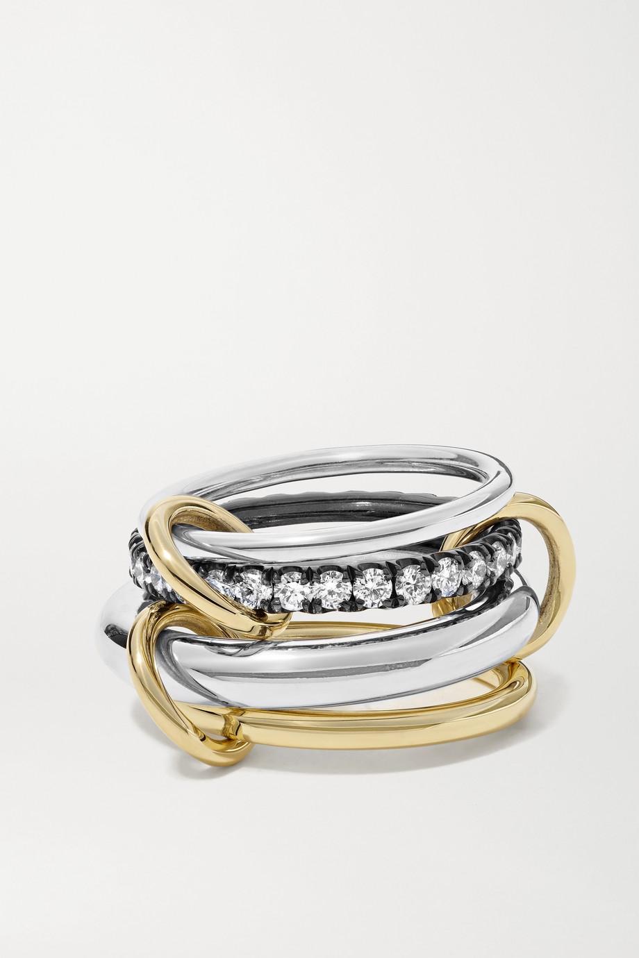 Spinelli Kilcollin Janssen set of four sterling silver and 18-karat gold diamond rings