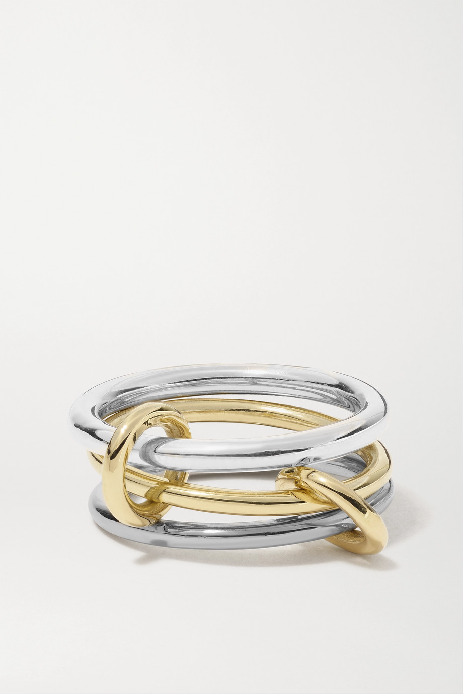 Spinelli Kilcollin Fauna set of three 18-karat yellow, blackened gold and sterling silver rings