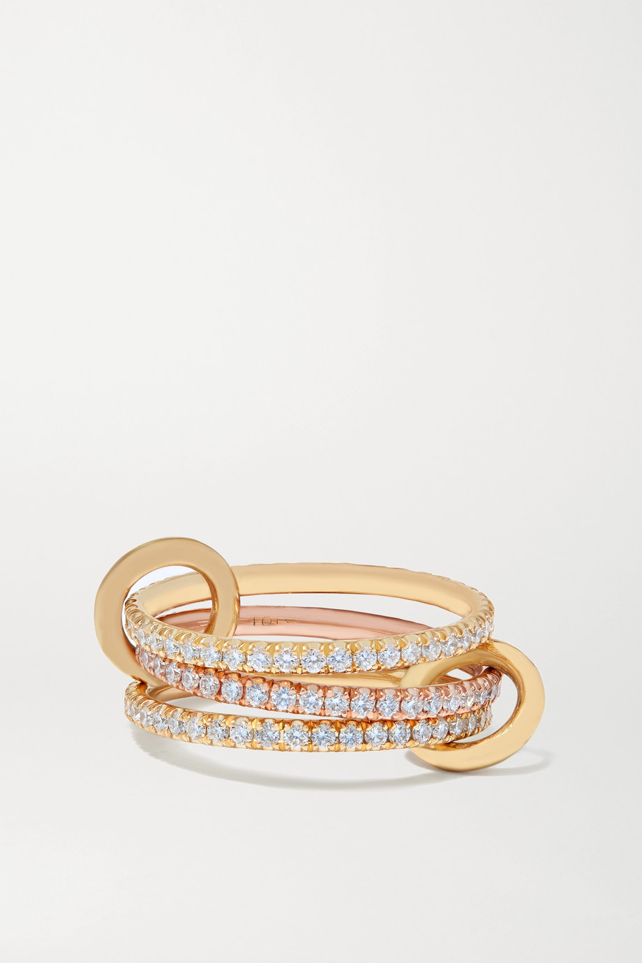 Spinelli Kilcollin Aurora set of three 18-karat yellow and rose gold diamond rings