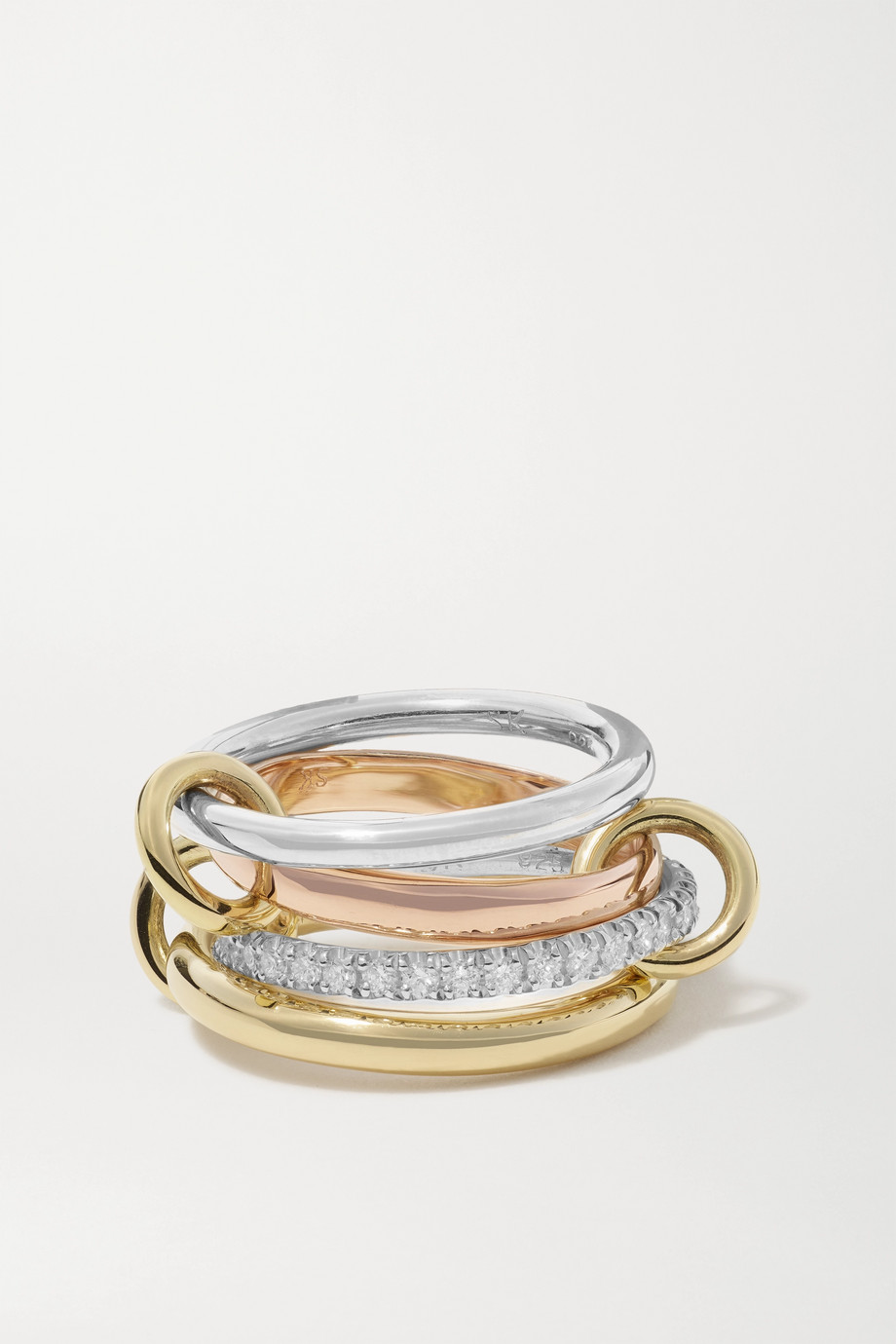 Spinelli Kilcollin Cancer Deux set of four 18-karat yellow and rose gold and sterling silver diamond rings
