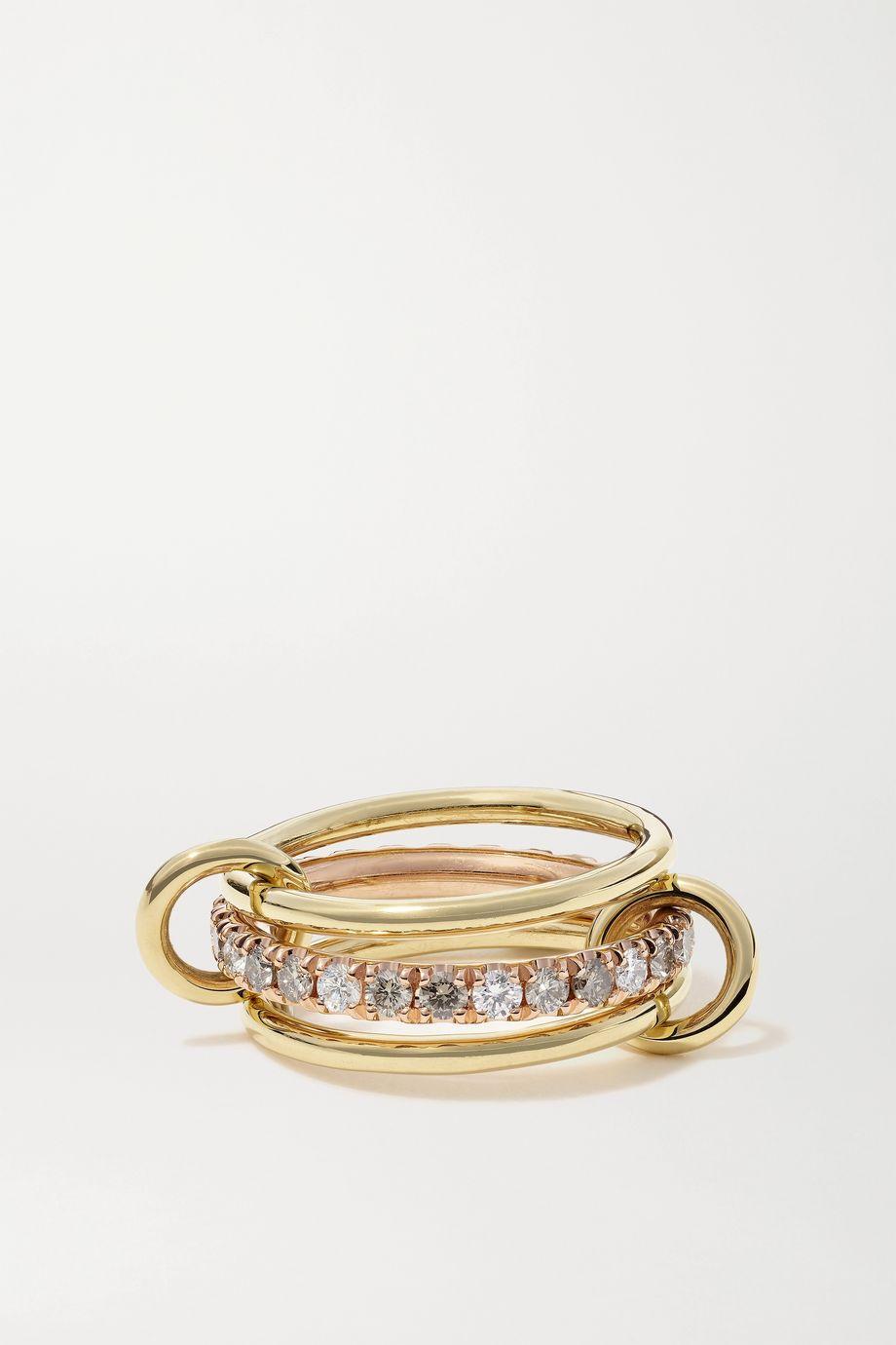 Spinelli Kilcollin Set de trois bagues en or jaune et rose 18 carats et diamants Sonny Max