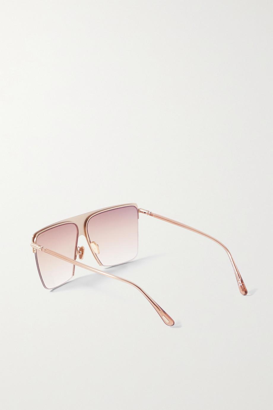 TOM FORD Sofi square-frame gold-tone and acetate sunglasses