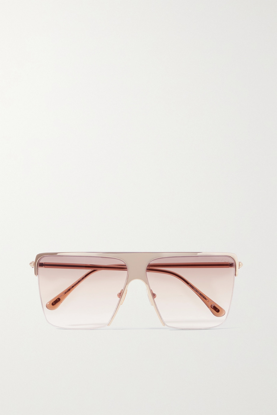 TOM FORD Sofi square-frame gold-tone and acetate sunglasses