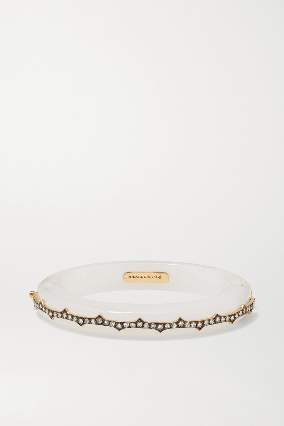 Sylva & Cie Thorn 18-karat rose gold, agate and diamond bangle