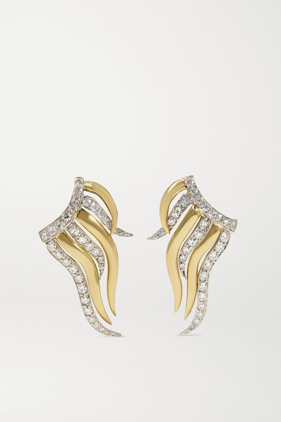 Sylva & Cie Stardust 18-karat yellow and white gold diamond earrings