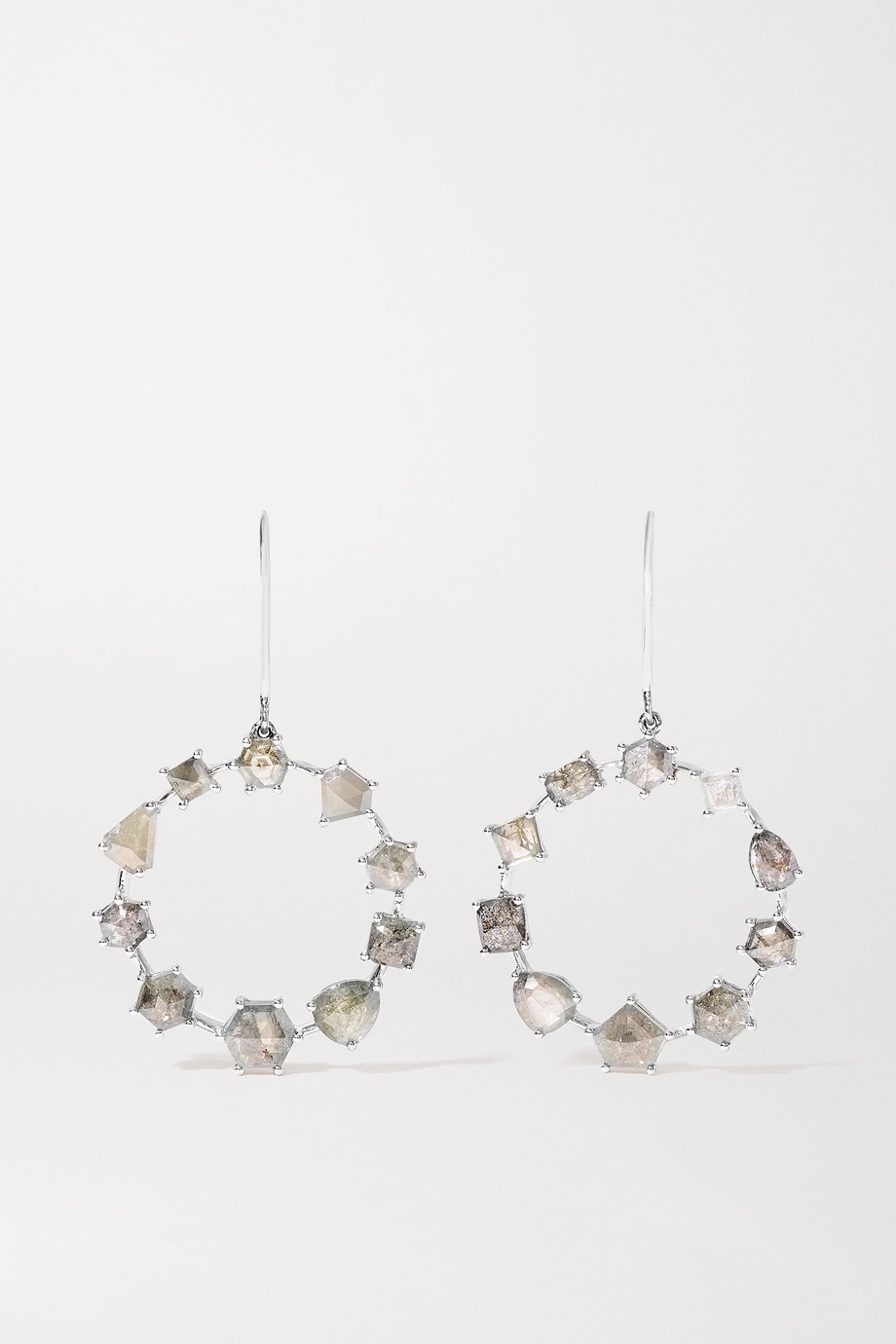Sylva & Cie 18-karat white gold diamond earrings